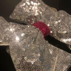 JoJo Siwa Silver & Pink Sequin Bow